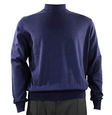 Bassiri Mock Neck, Full Cut, Long Sleeve. Knit Men's Navy Blue Sweater