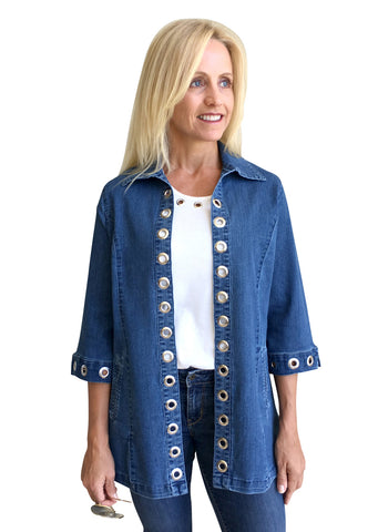 Tia Designs - Silver Grommet Accents, 3/4 Sleeve, Elongated Denim Jacket