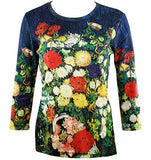 Van Gogh Bouquet of Flowers, Scoop Neck 3/4 Sleeve Hand Silk-Screened Art Top