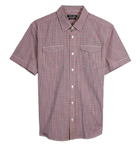 Stitch Note Double Pocket Short Sleeve Button Down Men's Casual Shirt