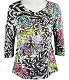 Clotheshead - Zebra Floral, 3/4 Sleeve, Burnout Accents, Scoop Neck Fashion Top