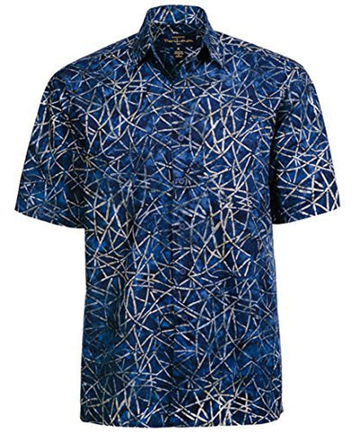 Peter Huntington Kakaban Island Sgle Pocket Handcrafted Navy Tan Tropical Shirt