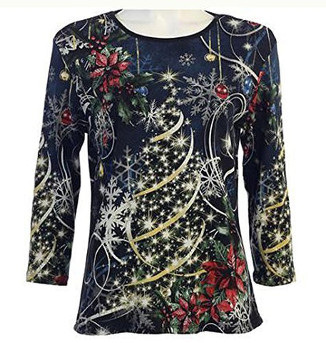 Jess & Jane - Christmas Joy, 3/4 Sleeve Scoop Neck Rhinestone Accents Cotton Top