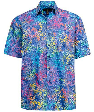Peter Huntington Sumatra Island Single Pocket Handcrafted Blue Tropical Shirt