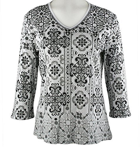 Jess & Jane - Vertical, 3/4 Sleeve V-Neck, Rhinestone Accents Cotton Print Top