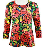 Breeke - Tiffany Rose, Scoop Neck, Hand Silk Screened 3/4 Sleeve Artistic Top