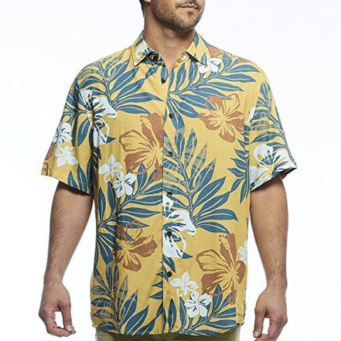 Margaritaville - Aloha Leaf, Button Front Short Sleeve, Men's Tropical Print Shirt