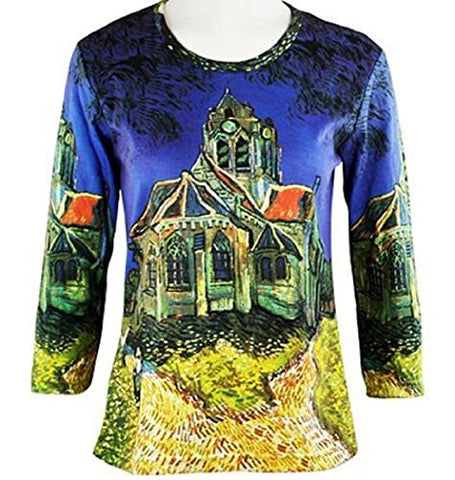 Breeke & Company Van Gogh's - Church at Auvers, 3/4 Sleeve, Woman's Top