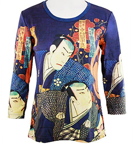 Breeke - Samurai's, Scoop Neck, Hand Silk Screened 3/4 Sleeve Artistic Top