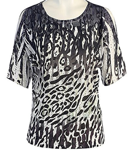 Jess & Jane - Black Cheetah, Peek-a-Boo, Cold Shoulder, Scoop Neck, Sequined Top