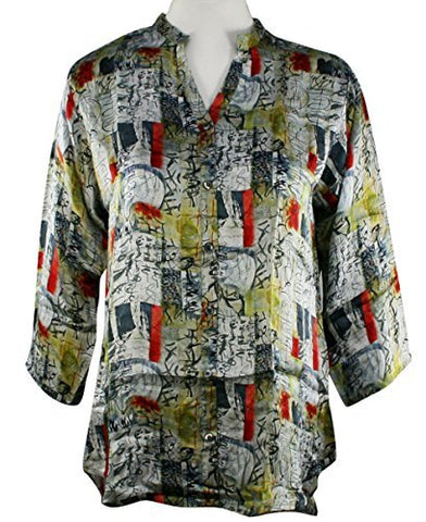 APNY Apparel Asian Art, V-Neck, Long Sleeve Printed Lightweight Tunic Top