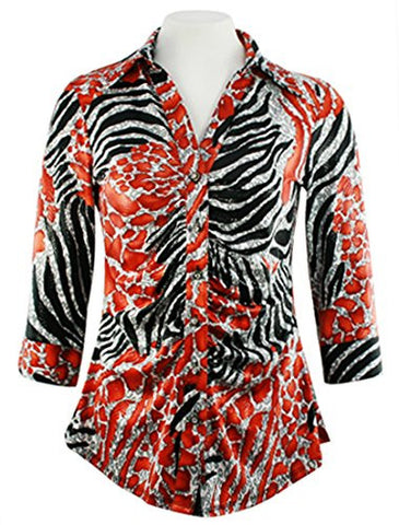 Mesmerize - Laminated Animal, 3/4 Sleeve, Rhinestone Button Rouching Front Top