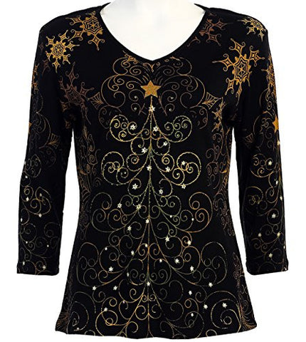 Jess & Jane - Christmas Star, 3/4 Sleeve, V-Neck Casual Cotton Holiday Top