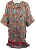 Tolani Apparel - Alexandria Flared Tunic, Paisley Patchwork Pattern Top