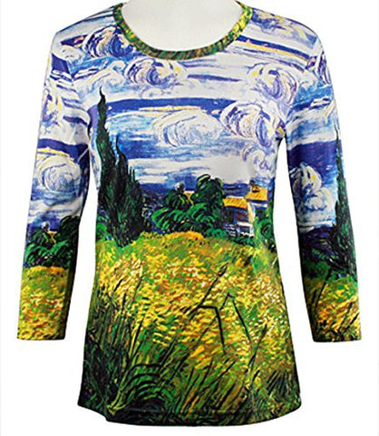 Breeke - Green Wheat Field, Scoop Neck, Hand Silk Screened 3/4 Slv Artistic Top