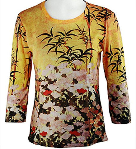 Breeke - Wheat Poppies & Bamboo, 3/4 Sleeve, Scoop Neck, Hand Silk Screened Top