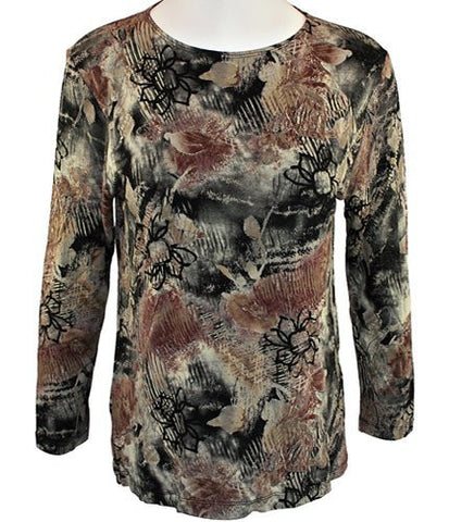 Walking Art Clothing , Scoop Neck, Black & Brown, Fabric Blend Top - Florascape