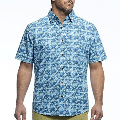 Margaritaville - Island Weave, Short Sleeve Men's Casual Tropical Print Shirt