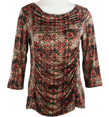 Tribal - Rusched Panel Fashion Top with Round Neck on a Microfiber & Spandex Body