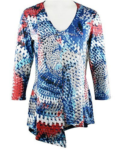Crystaline Collections Crystal Maze, Swarovski Crystal Accent 3/4 Sleeve Fashion Top
