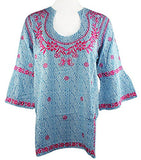 Escapada Living Montreux Tunic with Rounded Sweetheart Collar & Pink Embroidery