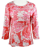 Jess & Jane - Coral Flower, Cotton Top 3/4 Sleeve Scoop Neck Rhinestone Accents