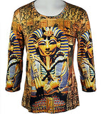 Breeke & Company - King Tut, 3/4 Sleeve, Scoop Neck, Hand Silk Screened Top