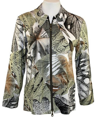 Walking Art Long Sleeve Zippered Front Printed Fabric Blend Jacket - Fern Leaves