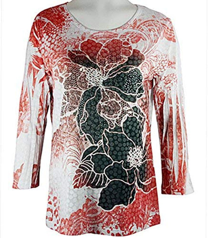 Cactus Fashion - Red Floral Burst, Rhinestone Accents, zscoop Neck Burnout Top