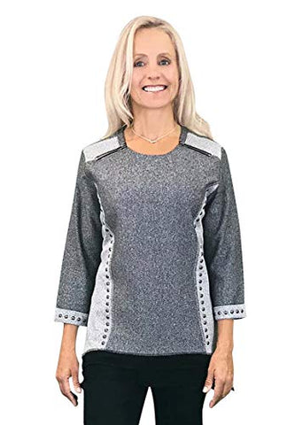 Tia Designs - High Dome Stud, 3/4 Sleeve, Two Tone Zippered Shoulders Tunic