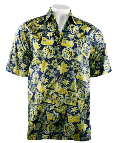 Go Barefoot - Tahiti, Banded Collar Classic Old School Hawaiian Shirt Side Vents & Coconut Button
