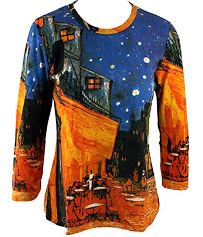 Van Gogh Cafe Terrace, 3/4 Sleeve Scoop Neck Hand Silk-Screened Art Top
