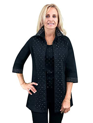 Tia Designs - Jet Diamond, Rhinestone Accented Sleeves & Collar Swing Jacket