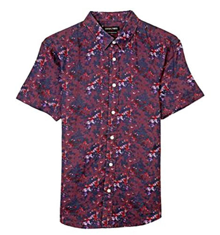 Stitch Note Short Sleeve Linen Floral Digital Print Button Down Casual Shirt