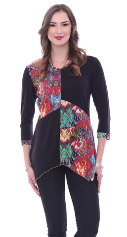 Parsley & Sage - Desiree, 3/4 Sleeve, Handkerchief Tunic in a Geometric Pattern