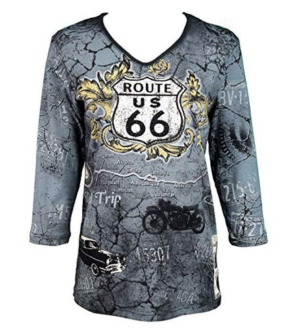 Cactus Bay - Vintage Route 66, 3/4 Sleeve, V-Neck Rt. 66 Theme Casual Cotton Top