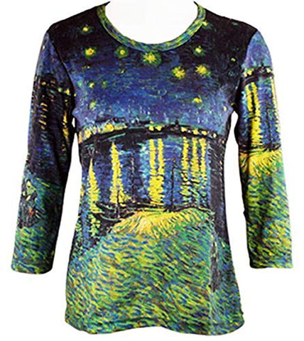 Van Gogh Starry Night Over The Rhone, 3/4 Sleeve Hand Silk-Screened Art Top
