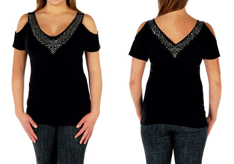 Liberty Wear - Sasha, Short Sleeve V-Neck Accented with Rhinestones Fashion Top