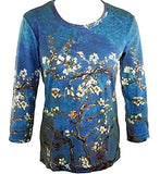 Van Gogh Almond Branch, Scoop Neck 3/4 Sleeve Hand Silk-Screened Art Top