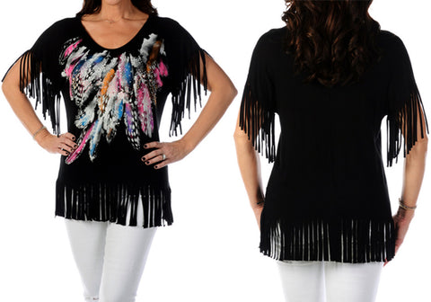 Liberty Wear - Fringe & Feathers, V-Neck, Short Sleeves, Western Themed Top
