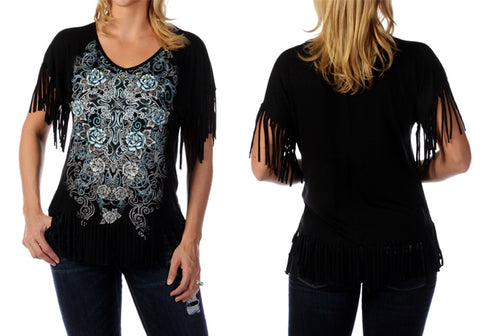 Liberty Wear - Cross & Rose, V-Neck, Short Fringe Sleeves, Black Fashion Top