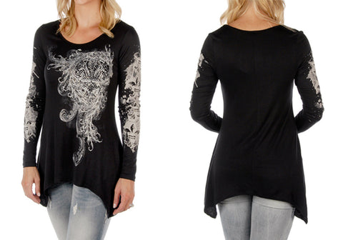 Liberty Wear - Fleur de Lis Scrolls, Long Sleeve, Sharkbite Hem Rhinestone Top