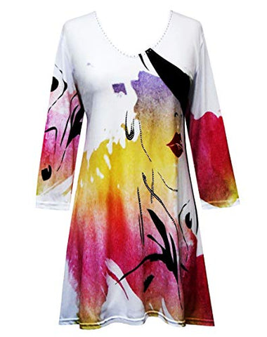 Valentina Signa - Abstract Vase, 3/4 Sleeve V-Neck Tunic Top Rhinestone Accents