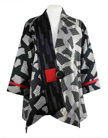 Moonlight - Silver Black Rectangles Asian Style Jacket with Red Stripe Accents