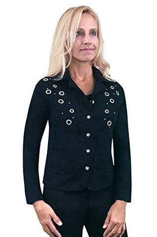 Tia Designs - Diamond Bezel, Long Sleeve, Curved Bottom Black Jacket