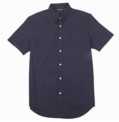 Stitch Note Classic Styled Short Sleeve Button Down Navy Blue Men's Shirt