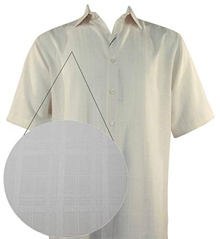 Bassiri - Four Squares, Button Front Short Sleeve Square Hem Beige Men's Shirt