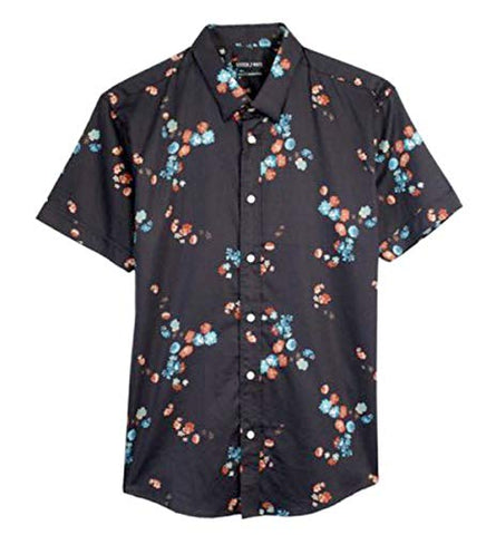 Stitch Note Floral Print Short Sleeve Button Down Men's Casual Black Shirt