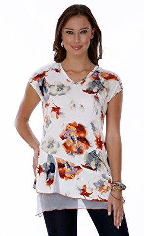 Parsley & Sage - Poppy, Cap Sleeve Chiffon Trimmed Tunic in a Floral Pattern