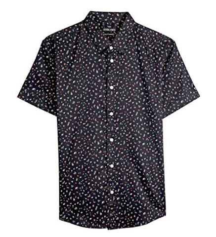 Stitch Note Floral Pattern Print Short Sleeve Button Down Casual Black Shirt